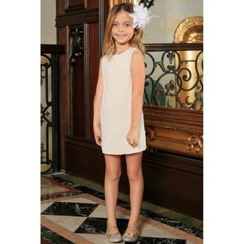 Off-White Stretchy Lace Sleeveless Spring Party Shift Dress - Girls