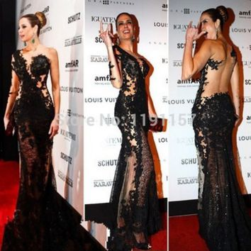 Red Carpet Black Mermaid Floor Length Appliques Lace V neck One Shoulder Sexy Backless Prom Evening dresses New 2014 -in Evening Dresses from Apparel & Accessories on Aliexpress.com   Alibaba Group