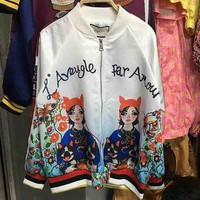 Gucci Illustration Girl Letter Print Cartoon Color Matching Long Sleeve Zipper Coat Jacket Baseball Uniform