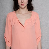 Fio Fio Chiffon Open Placket Scoop Neck Blouse With 3/4 Roll Sleeves - Peach