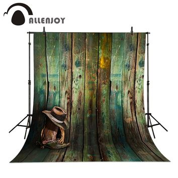 Allenjoy studio background baby Cowboy hat, cowboy boots wood wallpaper photo background 5x7ft(150x220cm)