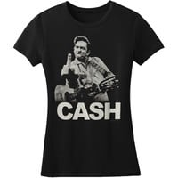 Johnny Cash  The Bird - Ladies Junior Top Black