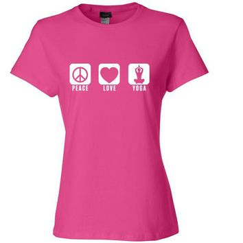 Peace Love and Yoga Womens T Shirt