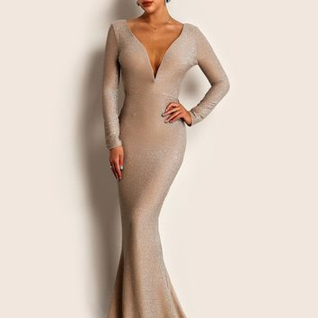 Joyfunear Plunge Neck Backless Glitter Bodycon Maxi Dress