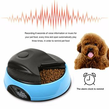 Enhanced NEW 4 Meals Automatic Pet Feeder Food Trays Bowl Dispenser Setting Fixed Time Non-toxic Container Recording Reminders Pet Supplies