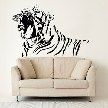 Wall Decal Vinyl Sticker Decals Art Decor Design  Tiger Lion Leopard Panter Animals Nature Wild Cat Fashion Bedroom Dorm (r1306)