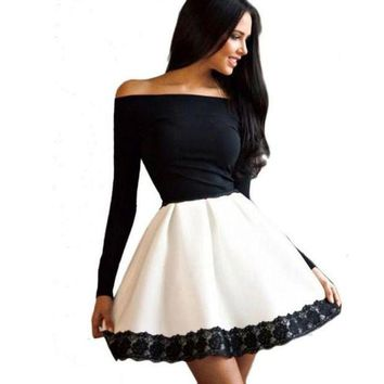 ONETOW fashionDress Women Dresses for  lady Elegant outwear off shoulder casual long sleeve evening party short miniDress 2