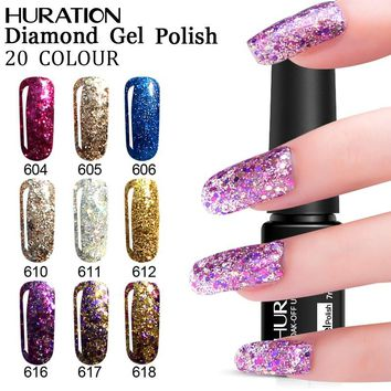 Huration 7ml Base Top Diamond Glitter Semi Permanent Professional Nail Gel Polish UV LED Lamp Manicure Gel Nail Polish