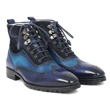 Paul Parkman Mens Wingtip Boots Blue Suede & Leather (ID#971-BLU)