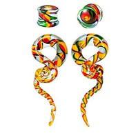 BodyJ4You Glass Gauges Kit Twisted Ear Tapers Plugs Green Orange Red Ribbon 00G 10mm Piercing Jewelry