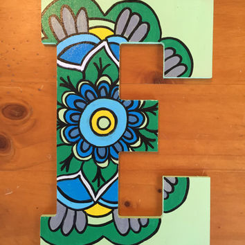 E Mandala Painted Wood Letter
