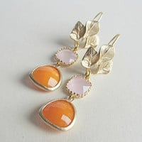 Pink and Orange Earring-Gold plated orange and pink opal on a 3-leaf earring-Drop Earrings