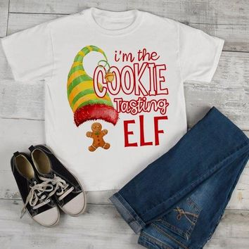 Kids Funny Elf T Shirt Cookie Tasting Matching Christmas Shirts Graphic Tee Watercolor Toddler Tee Boy's Girl's