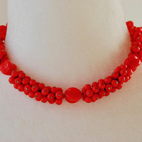 Vintage Red Glass Bead Choker Necklace Art Glass Made in Western Germany Adjustable Retro 1940's // Vintage Costume Jewelry