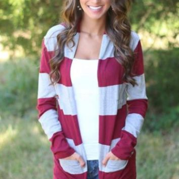 Stripe Long Sleeve Cardigan With Pocket