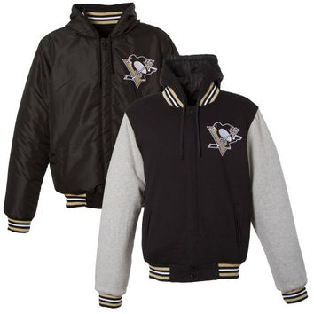 Pittsburgh Penguins Reversible Fleece/Nylon Hooded Jacket – Black