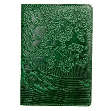Leather handmade cover for a passport, Green Handmade cover for documents