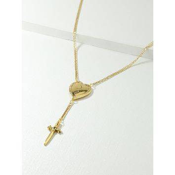Gold Broken Heart & Dagger Necklace