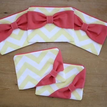 Bridesmaid Gift Set / Bachelorette Favors - Yellow Chevron Coral Bow - Wedding Cosmetic Cases - Customizable Quantity and Bow Style