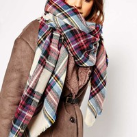 ASOS | ASOS Oversized Square Scarf In Check at ASOS