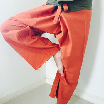 2 TONE Thai Fisherman Pants Cotton Orange and Green Stripe