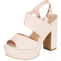 Wide Fit Pink Chunky Ankle Strap Block Heels