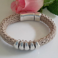 Greek Poly Braided Sand Cord Bracelet with Silver Slices and Magnetic Clasp