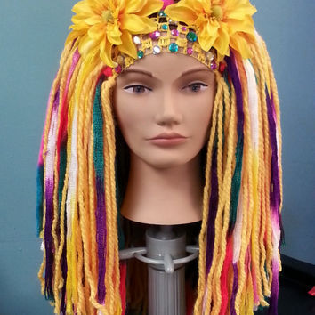 Super Colorful Circus Inspired Long Thick Yarn Wig Headdress with Flowers & Jewels Tribal Bellydance Cosplay Fairy Clown