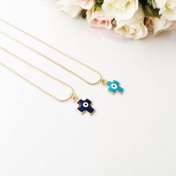 PROMO Cross evil eye necklace, evil eye pendant necklace, blue cross charm necklace
