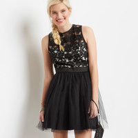 Aeropostale  Floral Lace Tulle A-Line Dress - Black,