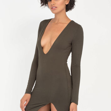 V Yourself Plunging Slit Minidress GoJane.com