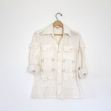 Vintage white cotton gauze blouse. Semi sheer boho hippie gypsy top. Button up cotton gauze shirt with hardware. Natural white pocket shirt.