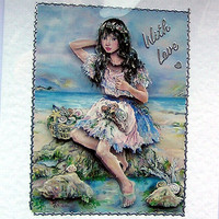 Mermaid Hand-Crafted 3D Decoupage Card - With Love (1682)