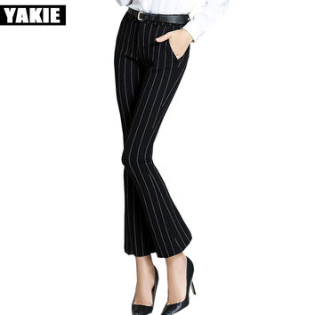 Plus size wide leg flare pants women striped skinny slim formal office OL fleece stretch casual  pants capri female trousers