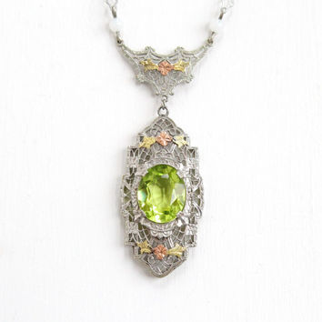 Antique Art Deco Silver Tone Simulated Peridot Lavaliere Necklace- Vintage 1920s 1930s Filigree Pendant Jewelry with Rose and Yellow Flowers