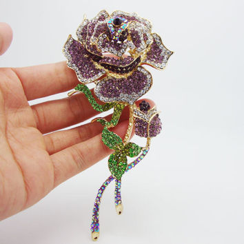 Vintage Purple Rose Flower Crystal Rhinestones Gold-plated Brooch Pins