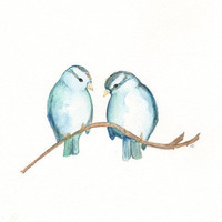 Blue Sparrows and Nest/ Nest with 3 blue eggs / Archival Watercolor Print/Buy 1 Get 1 Free