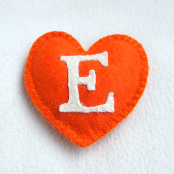 I love Etsy felt heart ornament, handmade, white, orange, home decor