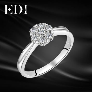 EDI Snowflake Halo 0.49cttw Natural Diamond Real 14K 585 White Gold Wedding Ring For Women Engagement Jewelry