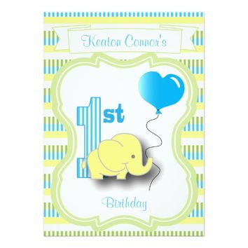 Baby Boy 1st Birthday Party 5x7 Paper Invitation Card