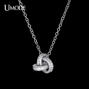 UMODE White Gold Color Cubic Zirconia CZ Accent Inspired Twist Love Knot Pendant Necklace UN0103