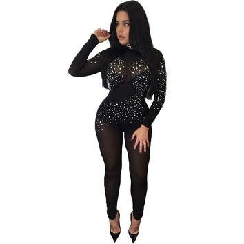 Overalls Club Wear Sexy See Through Mesh Jumpsuit Bodycon Long Black Rompers Plus Size Women Bodysuit Big Size Women Clothing