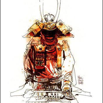 Fine Art Print Watercolor over Pen and Ink Sketchbook Drawing - Japanese Samurai Armor - Asian Art Museum SF - Marc Taro Holmes - 8x10""