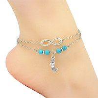 Fashion Barefoot Sandals Boho Anklet Silver Infinity Charm Cute Elegant Little Mermaid Pendant