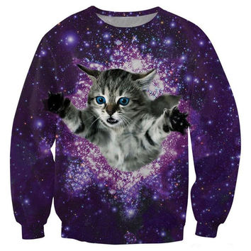 Kitty In Space Crew Neck Sweatshirt Men & Cats in Space Floral Harajuku Style All Over Print Purple Sweater