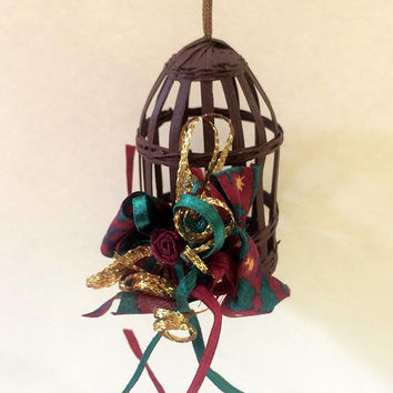 Singing Bird in Festive Christmas Cage - Christmas Ornament - Handmade Vintage - Inexpensive Christmas Decoration - Holiday Decor - 1980