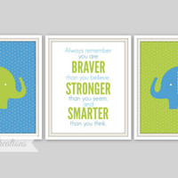 Elephant Prints - Nursery Wall Art // Boys Room Decor // Elephant Nursery Decor // Boys Room // Elephant Wall Art // Green and Blue