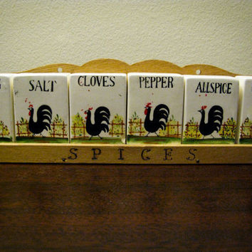 Midcentury Rooster Spice Rack Ceramic Spice by timepassagesshop