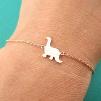 Long Neck Dinosaur Sauropoda Silhouette Shaped Charm Bracelet in Rose Gold