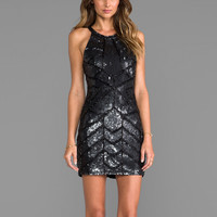 Parker Sequined Aubrey Dress in Black